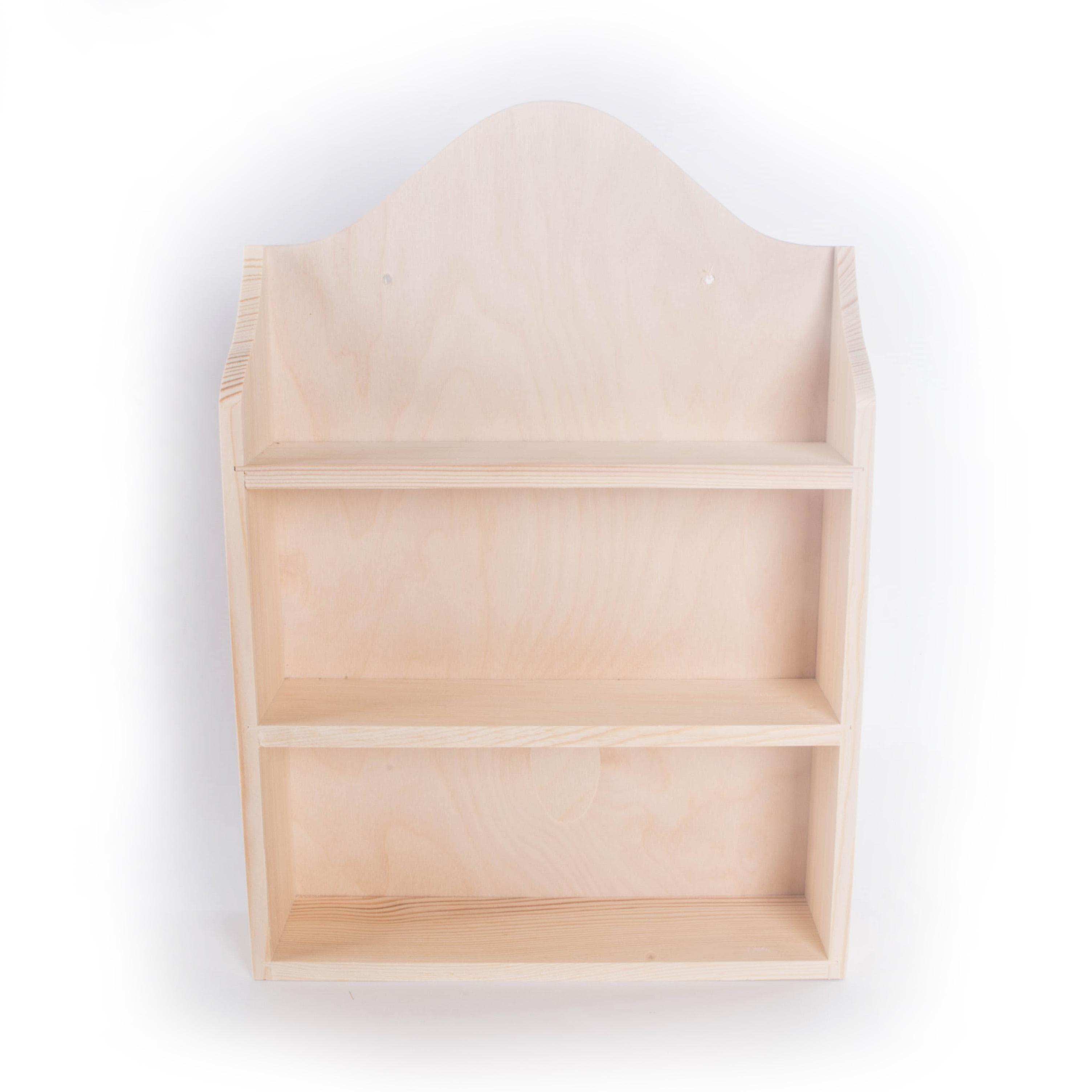 Details About Wooden Spice Rack Craft Natural Wood Shelves Storage Display Pine Shelving