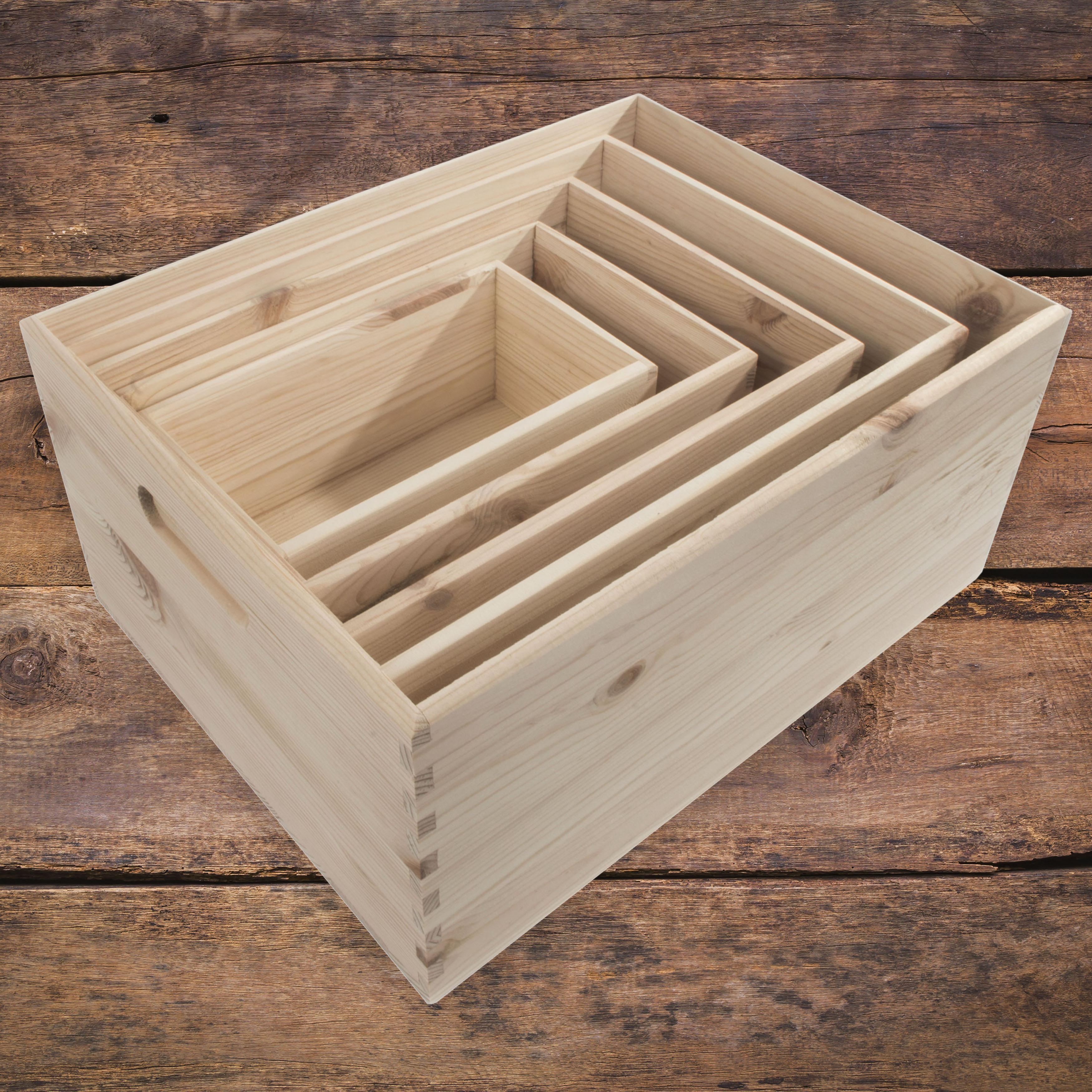 1x en bois caisses Box DECOUPIS Plain Bois Extra Large Storage Craft Boxes Crate