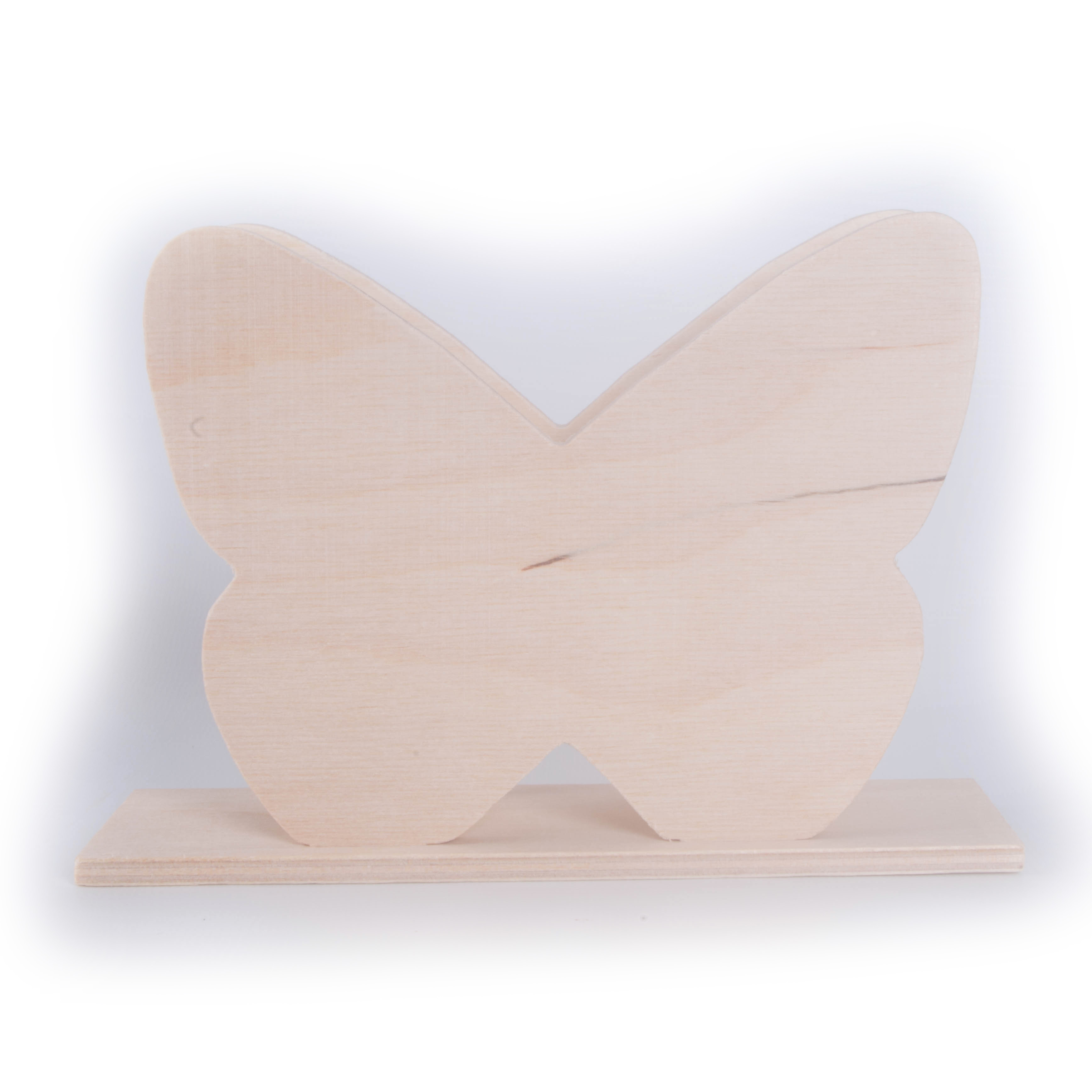 Butterfly Shaped Wooden Napkin Serviette Letter Holder / Unpainted ...