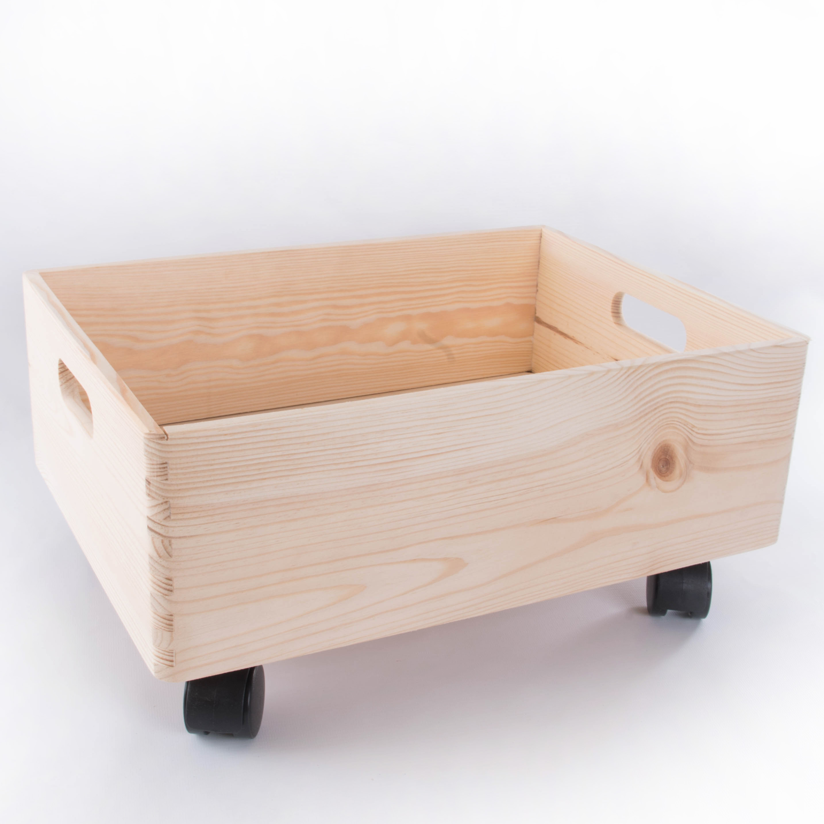 Large Wooden Stackable Storage Crate With Handles And