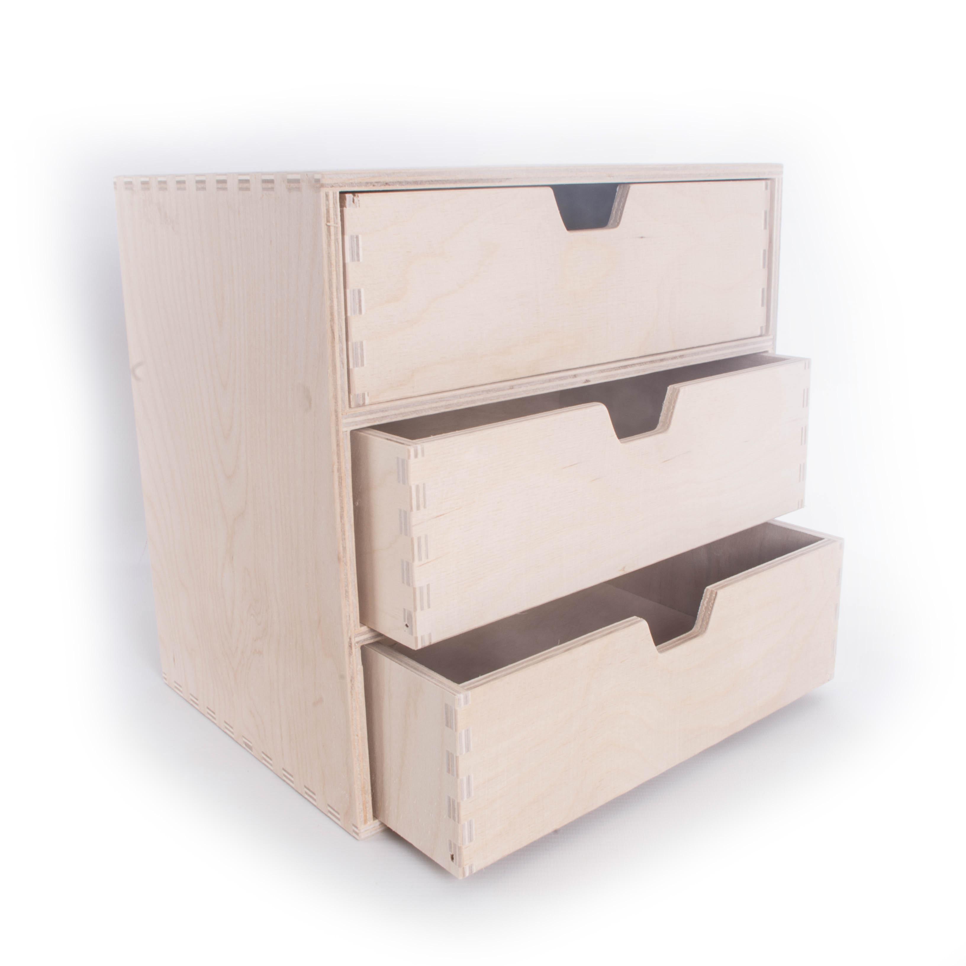 Details About Plain Wooden Cupboard Keepsake Storage Box With 3 Drawersunpainted Craft Chest